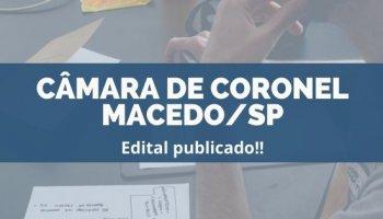 CONCURSO CÂMARA DE CORONEL MACEDO/SP (16/12/2019): Edital publicado!!