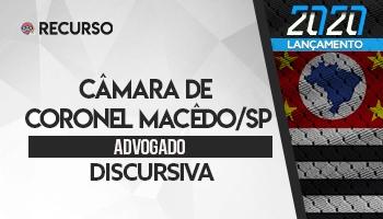Recurso | Concurso | Advogado da Câmara de Coronel Macedo/SP | Prova Discursiva