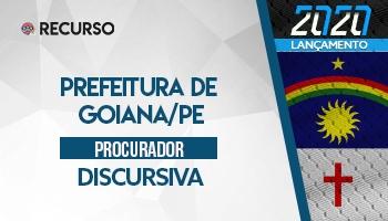 Recurso | Concurso | Procurador da Prefeitura de Goiana/PE | Prova Discursiva