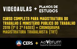 COMBO: CURSO COMPLETO PARA A MAGISTRATURA DO TRABALHO E O MINISTÉRIO PÚBLICO DO TRABALHO 2019 (1ª E 2ª FASES) + PLANOS DE ESTUDO COM TUTOR | CRONOGRAMA MAGISTRATURA TRABALHISTA (TRT) - 03 MESES