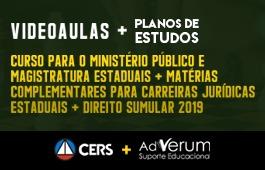 COMBO: COMBO: CURSO PARA O MINISTÉRIO PÚBLICO E MAGISTRATURA ESTADUAIS + MATÉRIAS COMPLEMENTARES PARA CARREIRAS JURÍDICAS ESTADUAIS + DIREITO SUMULAR 2019 + PLANOS DE ESTUDOS DE JUIZ DE DIREITO/PROMOTOR DE JUSTICA - 03 MESES