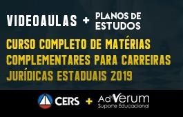 COMBO: CURSO COMPLETO DE MATÉRIAS COMPLEMENTARES PARA CARREIRAS JURÍDICAS FEDERAIS 2019 + PLANOS DE ESTUDOS CARREIRAS JURÍDICAS - 03 MESES