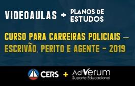 COMBO: CURSO PARA CARREIRAS POLICIAIS – ESCRIVÃO, PERITO E AGENTE - 2019 + PLANOS DE ESTUDO COM TUTOR | CRONOGRAMA AGENTE DA POLÍCIA CIVIL - 03 MESES