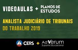 COMBO: ANALISTA JUDICIÁRIO DE TRIBUNAIS DO TRABALHO 2019 + PLANOS DE ESTUDO COM TUTOR | CRONOGRAMA SERVIDOR TRT - ANALISTA E TÉCNICO - 03 MESES