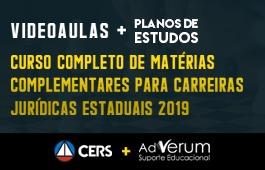COMBO: CURSO COMPLETO DE MATÉRIAS COMPLEMENTARES PARA CARREIRAS JURÍDICAS ESTADUAIS 2019 + PLANOS DE ESTUDOS CARREIRAS JURÍDICAS - 03 MESES