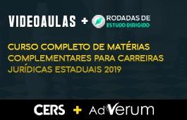 COMBO: CURSO COMPLETO DE MATÉRIAS COMPLEMENTARES PARA CARREIRAS JURÍDICAS ESTADUAIS 2019 + RODADAS DE ESTUDO DIRIGIDO CARREIRAS JURÍDICAS ESTADUAIS